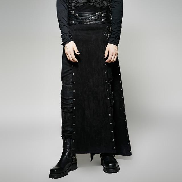 1014bb8f7 € 71.22 |Steampunk personalidad negro PU cuero largo Split falda para  hombres Punk gótico atractivo Casual pantalones de actuación de escenario  en ...
