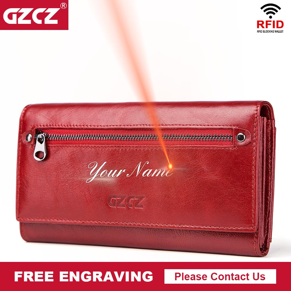 GZCZ Free Engraving Women Genuine Leather Wallets Bifold RFID Wallet Female Zipper Poucht Long Valet Portomonee Clamp For Money