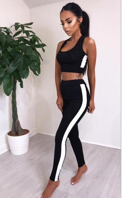 Sportswear Sports Gym Fitness Clothing Yoga Top Half Sleeveless Vest + Pants Running Jogging Clothes