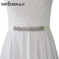 TOPQUEEN S335 Wedding Dress Belts Whith Jewel Crystal Belt Sash Bridal Sash Wedding Sash Marriage Belts