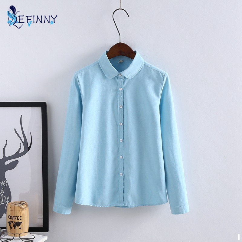 EFINNY 2017 New Autumn Oxford Cotton Casual Long Sleeve Blouse Shirt Office Tops Woman Office Shirts Excellent Quality Lady
