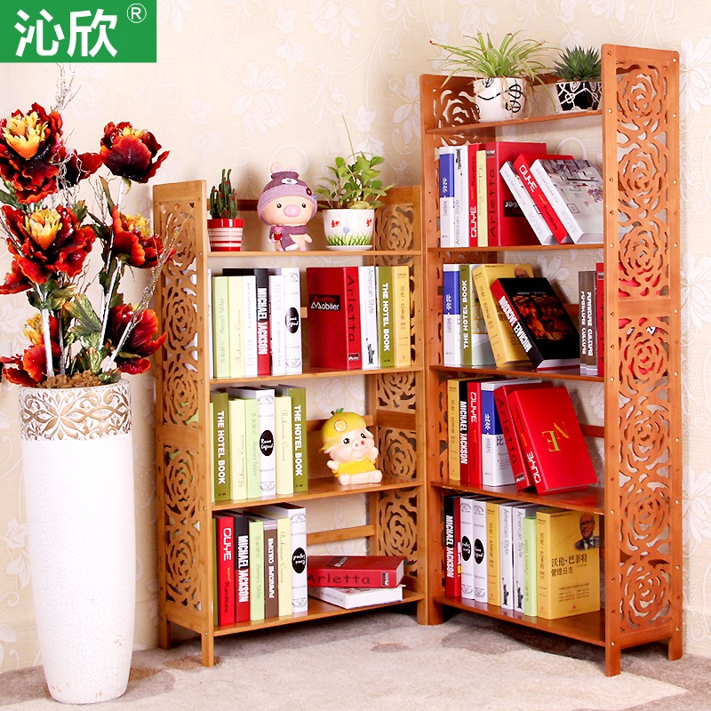Cheap Bamboo Wood Simple Bookshelf Idyllic Creative Kids
