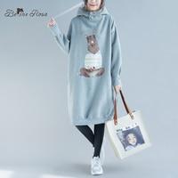 b455083588 BelineRosa bluzy plus size Sukienka dla Kobiet 2019 kobiet Kawaii Kreskówki  Druku Polar wewnątrz Zima Sukienka