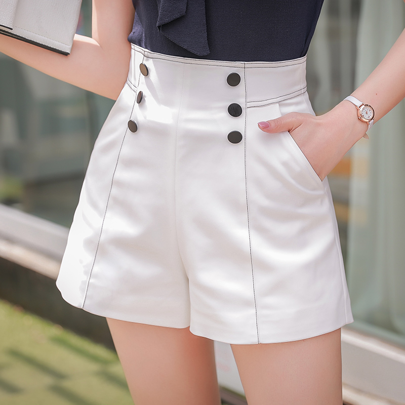 Dabuwawa Spring New Harem   Shorts   Female Fashion Double-breasted High Waist Wide Leg   Shorts   White Army Green Black D18ASP002