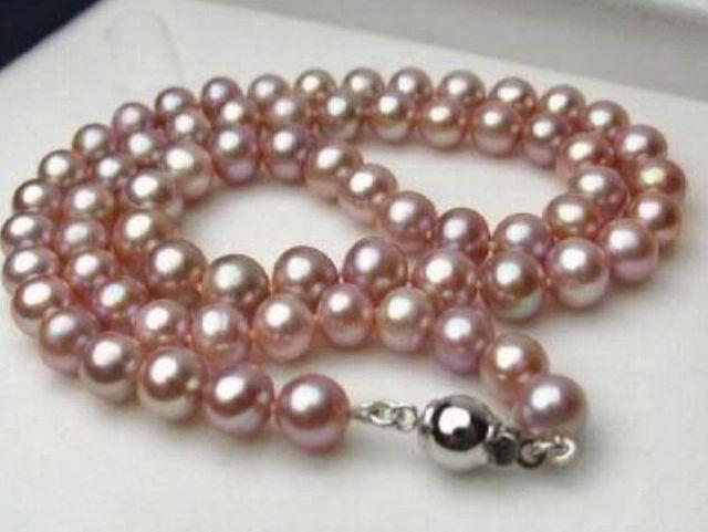 """Oferta nuevo estilo> 7-8 MM genuino Natural lavanda akoya cultivada collar de perlas 17"""""""
