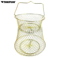 Crabs Fish Keeper Cage L size Big Bronze Tone Metal Foldable Fishing Keep Net Collapsible Cage Fishing Tools