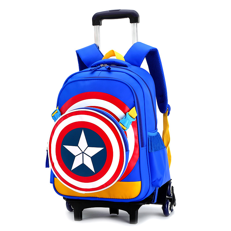 где купить 2017 New Arrival Triple Wheels Trolley School Bag For Girls and Boys Portable Detachable Backpacks For Children Alloy Rod Bags дешево