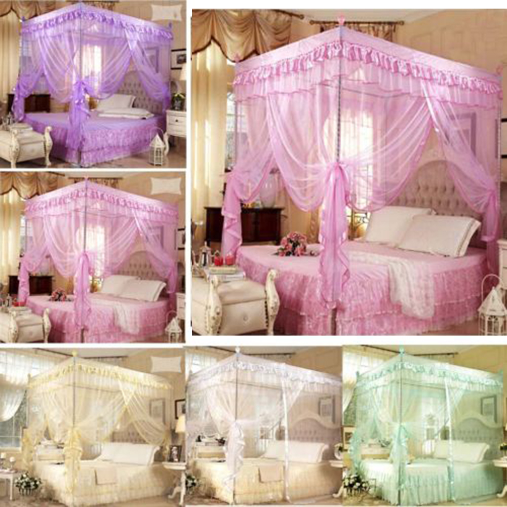 - Beautiful Bed Net Mesh Room Decoration Netting Pink Purple Bed
