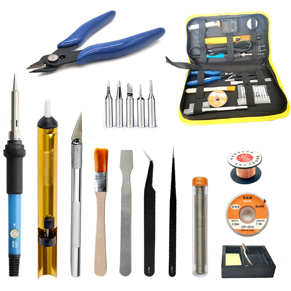 Electric soldering iron Temperature adjustable soldering iron All aluminum suction pump 60w Electric soldering irons set Toolkit cxg ds90t 90w soldering iron high quality heat soldering stand welding electric soldering iron tip suction tin pump toolkit