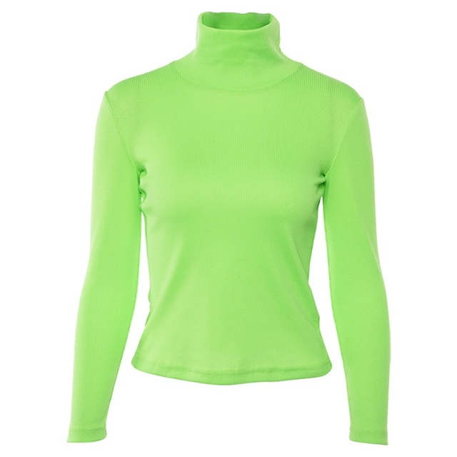 US $7.82 20% OFF Fluorescent Green Turtleneck Knitted Sweater Women Streetwear Pullovers Tops Autumn Winter Casual Long Sleeve Ribbed