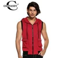 COOFANDY Bluza męska Urban Fashion Solidna Casual Podstawowe Modele V Neck Zipper Packet hedging Bluza Patchwork Kamizelka Bez Rękawów