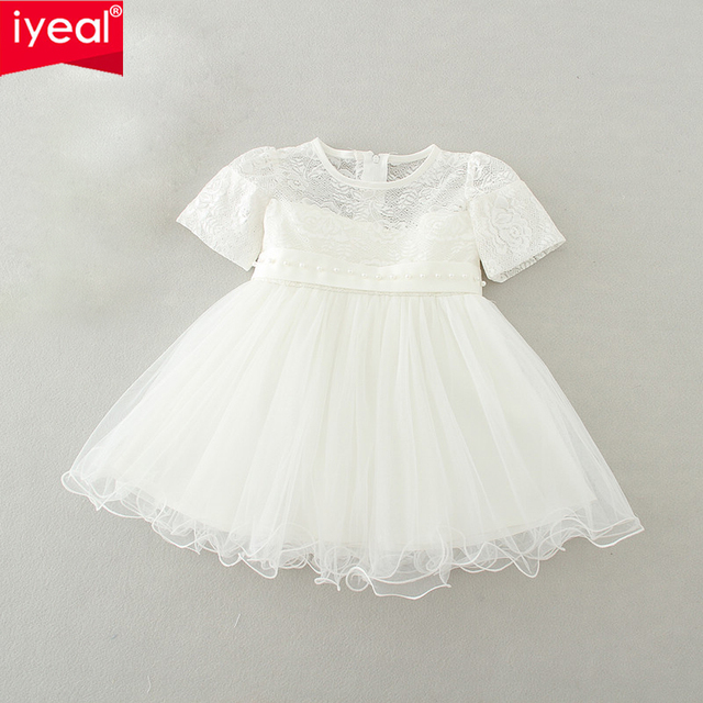 Baby Girls Dresses 2016 Brand Short Sleeve Princess 1 Year Girl Baby Birthday Dress Lace Kids Children Toddler Infant Clothes