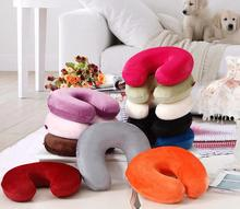 U Shaped Slow Rebound Memory Foam Travel Neck Pillow for Office Flight Traveling Cotton Soft Pillows Neck Support Head Rest