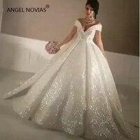 ANGEL NOVIAS Long Ball Gown Vintage Formal Women Off the Shoulder Wedding Dresses 2019 Lace Up Bridal Gown robe de mariee