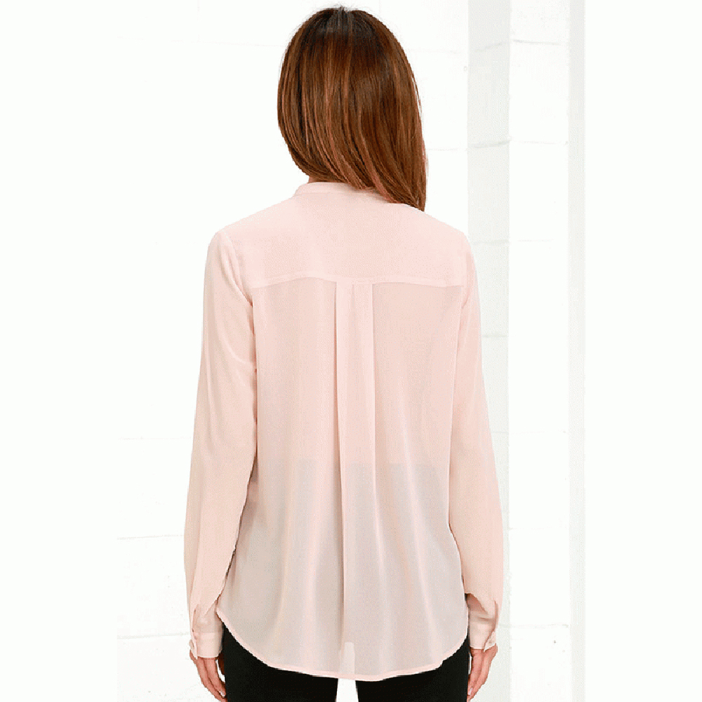Ženska odeća ... Bluze ... 32768525679 ... 4 ... HDY Haoduoyi Solid Color Fashion Women Shirts Single Breasted V Neck Long Sleeve Blouse Casual Brief Style Female Chiffon Shirt ...