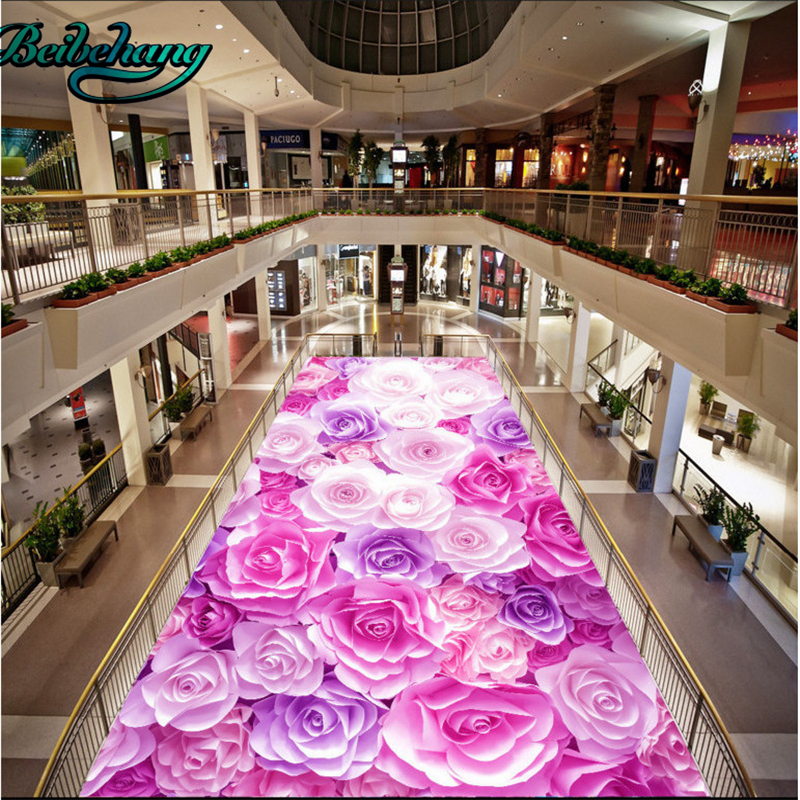 beibehang Romantic roses sea living room 3d floor tiles large custom ...