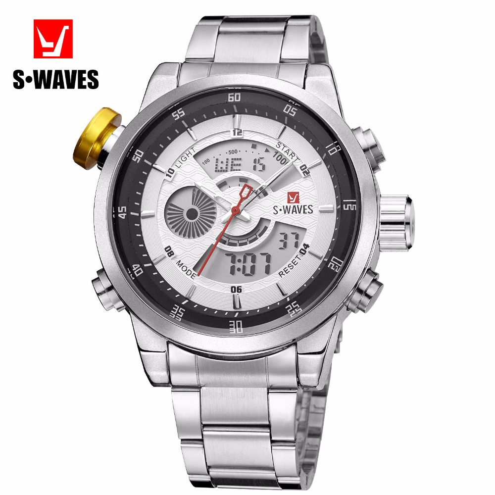 Brand SWAVES Stainless Steel Dual Display Casual Sport Quartz Watches Men Alarm Digital Week Date Wristwatches Masculino Relogio weide popular brand new fashion digital led watch men waterproof sport watches man white dial stainless steel relogio masculino