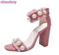Femmes De Luxe Rose Bleu Denim Sandales Chunky Talons Perlé Robe Chaussures Haut de gamme Perle Pompes Bijoux Pense Talon Denim sandales