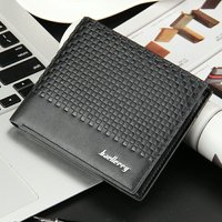 Baellerry Business Purse Men S Leather Wallet Black Weaving Pattern Short Vertical And Horizontal Design Thin