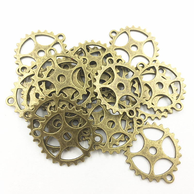 Connector Pendant For Bracelets Jewelry DIY Making Accessrioes Antique Bronze Tone Round Two Holes Cute Gearwheel Metal 10Pcs in Jewelry Findings Components from Jewelry Accessories