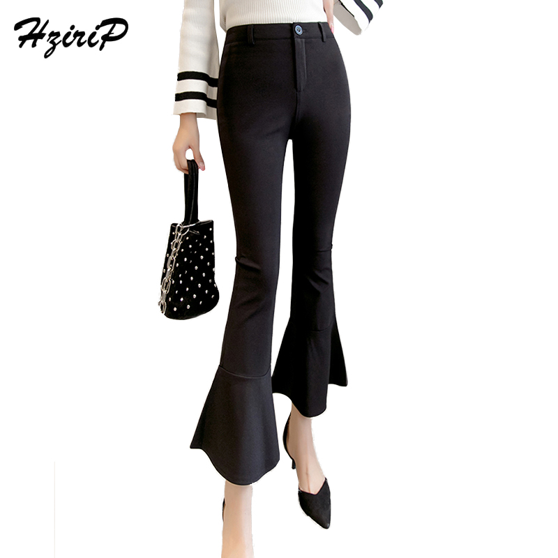 HziriP 2018 Fashion OL Casual Ankle-Length   Pants   Loose Elegant Trousers Hot High Waist Solid Flare   Pants   &   Capris   for Ladies