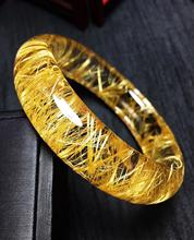 Top Quality Natural Gold Rutilated Quartz Titanium Bangle Woman Wealthy Stone Crystal Inner Diameter 56mm AAAAA