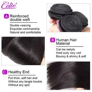Image 5 - Celie em linha reta feixes de cabelo humano com fecho 3 pacotes com fechamento remy brasileiro feixes de cabelo reto com fechamento