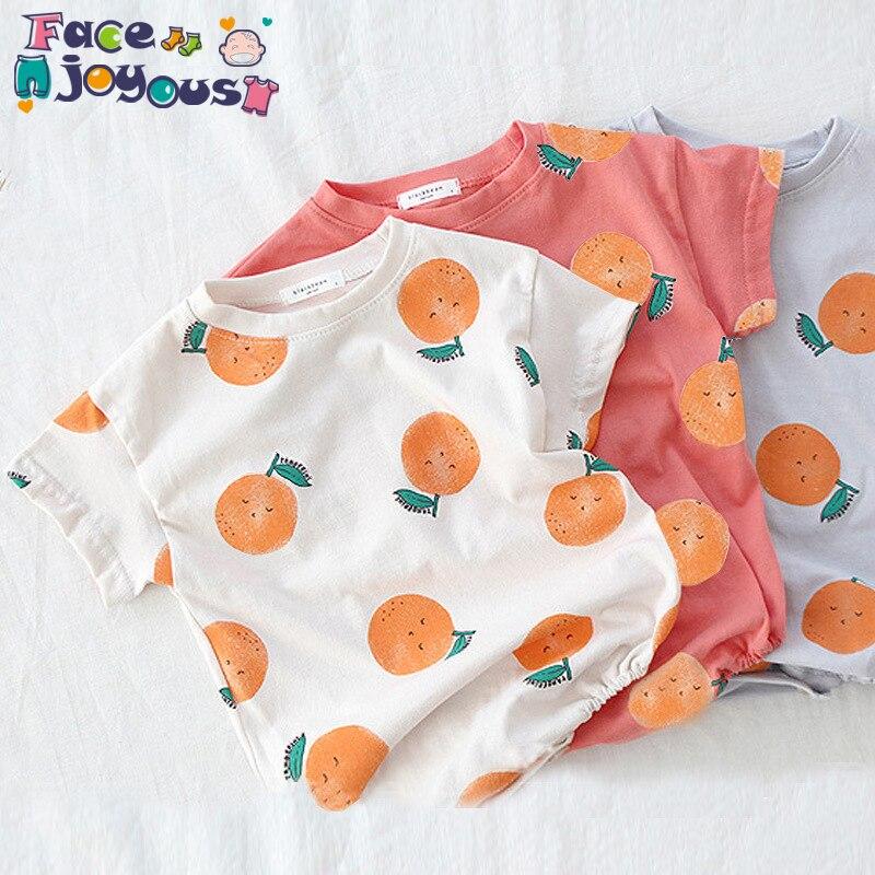 Newborn Bodysuits Twins Girl Boy Onesies Infant Kids Cartoon Orange Printed Bodysuit Little Girls Clothing Boys Jumpsuits 0-3T