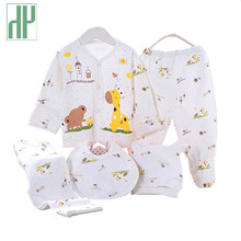 5PCS baby girl clothes 0-3M Spring summer print cartoon newborn clothing gift set cotton new born baby boy clothes baby outfit(China)