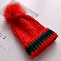 6 Colors Winter New Design Imitation Bubble Women Cotton Striped Hat