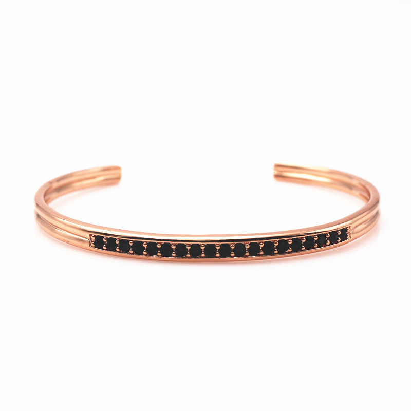 Famous Brand Mens Bangles Rose Gold Cuff Micro Pave Black Cz Open Bracelets For Men Valentine S Gift In From Jewelry Accessories