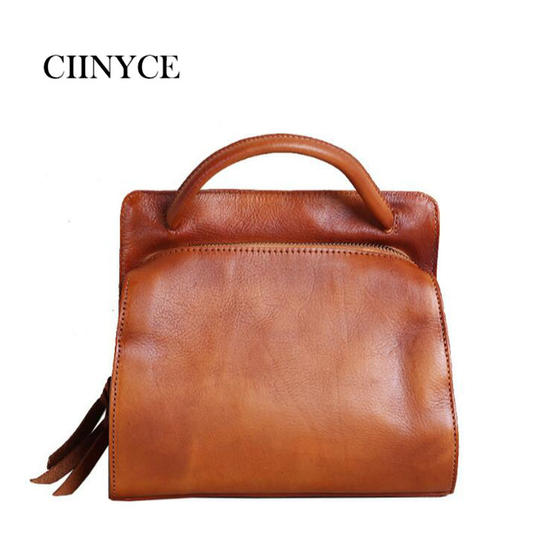 Genuine Leather Handbag High Quality Cow Skin Vintage Fashion Office Lady Retro Casual Totes Women Cross body Hand shoulder bags цена 2017