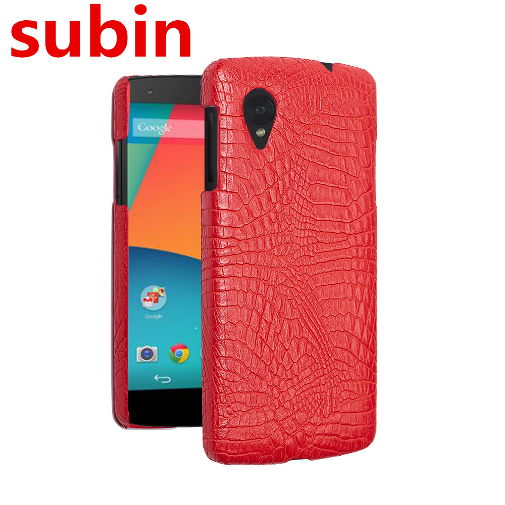 For LG Nexus 5 Case Retro Luxury Crocodile Skin Book Cover For Google Nexus 5 E980 Phone ...