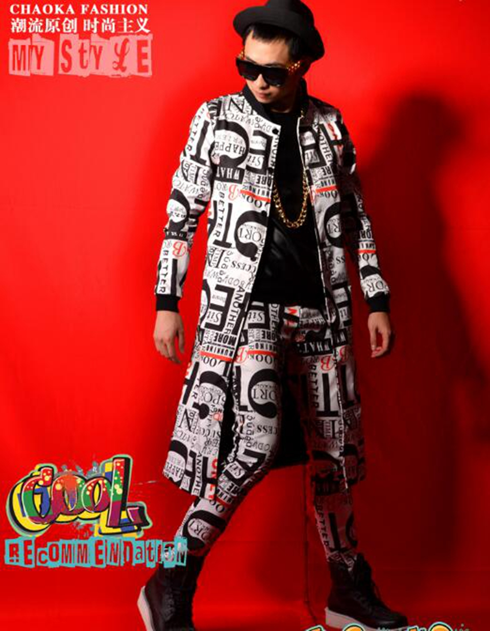 Mens new European and American leisure fashion boutique singer host costumes of England alphanumeric printed suit / M-2xL