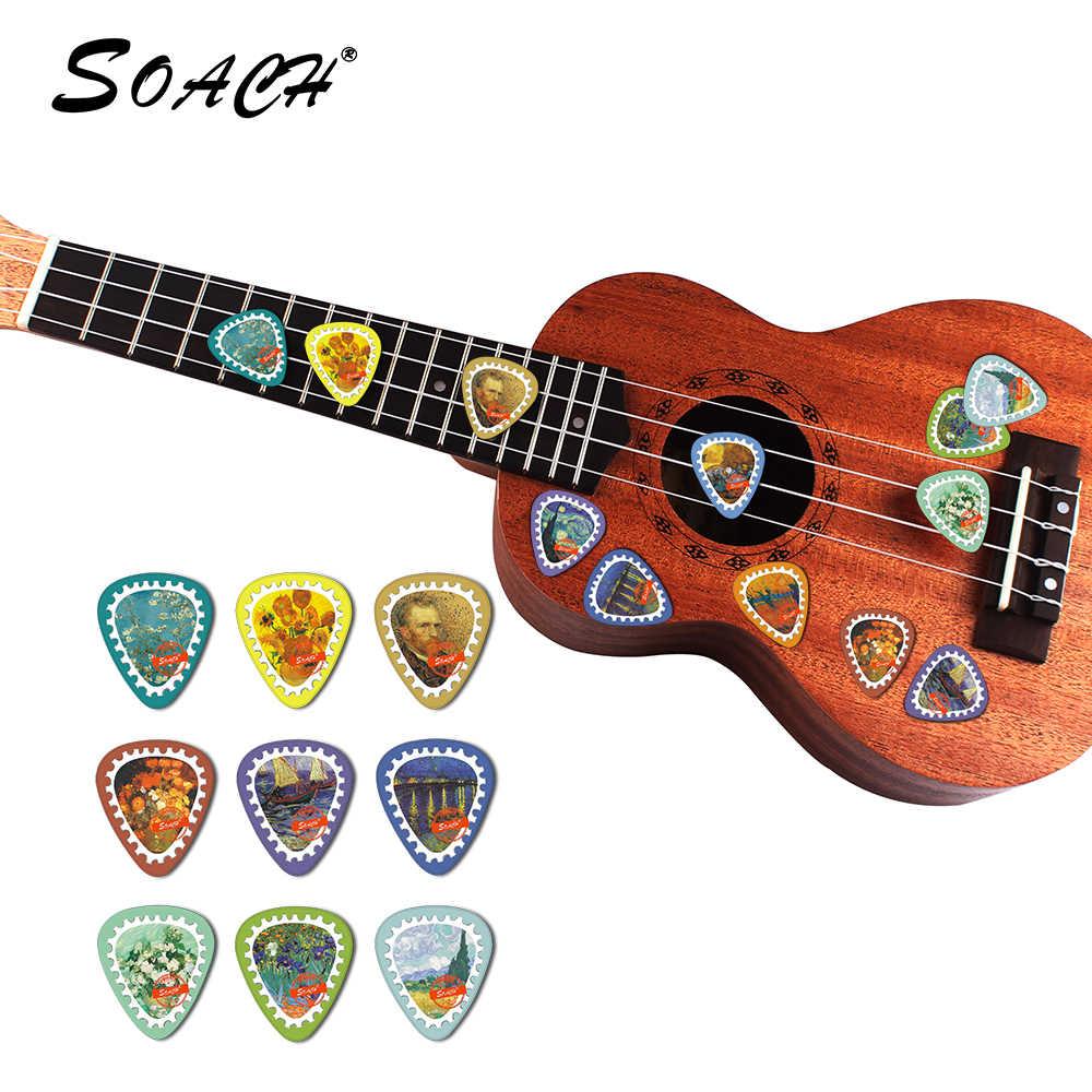 Perangko SOACH 10 pcs Van Gogh Ketebalan 0.71mm Celluloid Gitar Pilihan dengan paket dikirim secara acak Gitar Bagian & Aksesoris