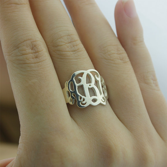e442859fe Wholesale Monogram Ring Personalized Initial Sterling Silver Hand Cut Name  Custom Unisex Jewelry Christmas Gift