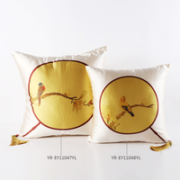 Classic Style Bird Printed Silk Pillow Handmade High Quality Silk Cover With Fiber Cushion Core For