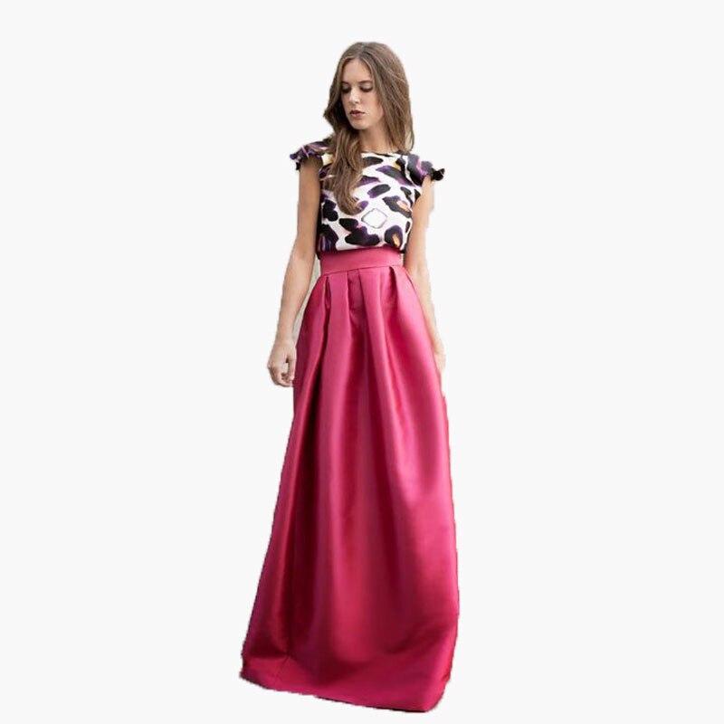 6bc1b13f1 Faldas largas de satén de alta calidad fucsia 2016 nueva llegada faldas de  mujer de moda hasta el ...