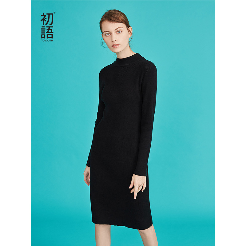 Toyouth Slim Thin Knitted Dresses Vintage Black White Autumn Turtleneck Long Sleeve Dress All Match Women