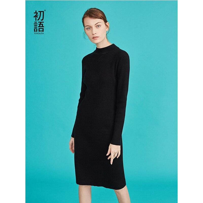 50c7d4ec697 Kleider Vintage Toyouth Beige black Herbst Gestrickte Kleid Weiß  Allgleiches Bodycon Rollkragen Schwarz Dünne Vestidos Frauen ...