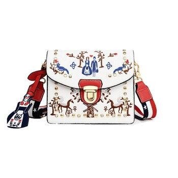 Women Handbag 2018 Rivet Hit Color Leather Messenger Bag Pearl Embroidery Structured Handbags Designer Shoulder Sling Bag