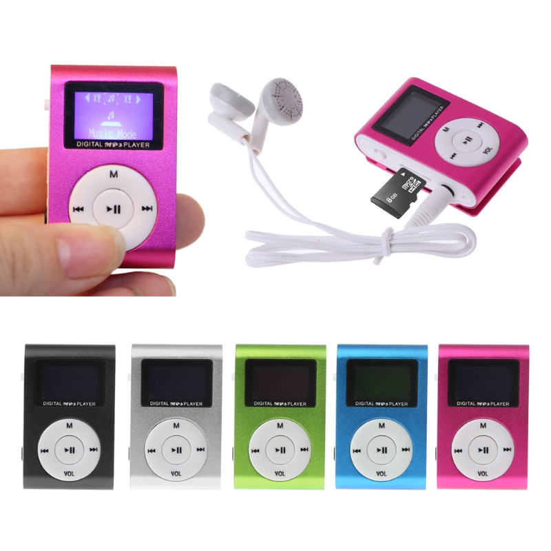 OOTDTY Mini USB Metal Clip MP3 Player LCD Screen Support 32GB Micro SD TF Card Slot Digital Mp3 Music Player