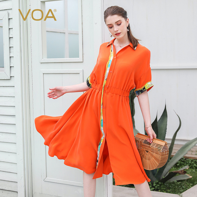 f706f8b722c2 VOA Orange Heavy Silk Midi Summer Dress Women Casual Tunic Shirt Dresses  Batwing Sleeve Broken Clothes Luxury Ladies Sweet A725