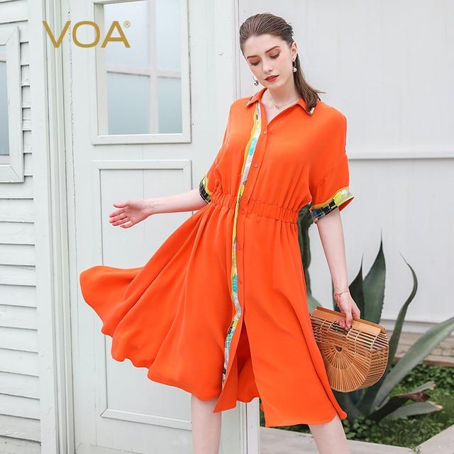 VOA Orange Heavy Silk Midi Summer Dress Women Casual Tunic Shirt Dresses  Batwing Sleeve Broken Clothes Luxury Ladies Sweet A725 ce4a67a6c
