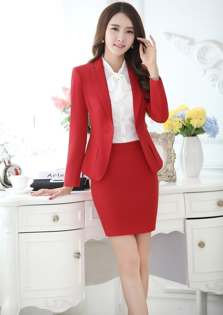Novelty Red Autumn And Winter Business Women Suits With Jackets And