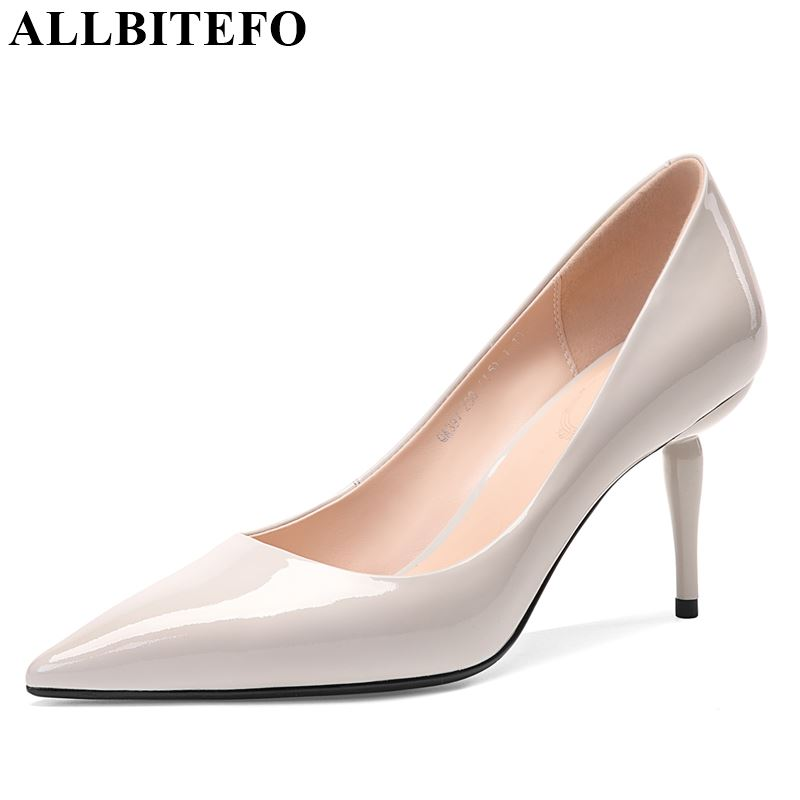 ALLBITEFO brand genuine leather super high heel shoes new pointed toe women heels spring autumn comfortable shallow woman shoesALLBITEFO brand genuine leather super high heel shoes new pointed toe women heels spring autumn comfortable shallow woman shoes