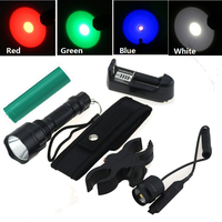 5 Mode Hunting Flashlight C8 Cree Q5 LED Working Lamp Torch green,blue,red ,White Light+ Holster+Charger+Gun mount+Remote Switch