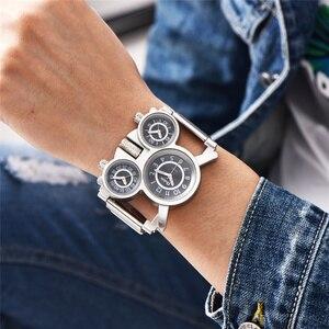 Image 3 - Oulm Mesh Steel 1167 Model Mens Watches 3 Colors 3 Time Zone Unique Male Quartz Watch Casual Sports Men Wristwatch reloj hombre
