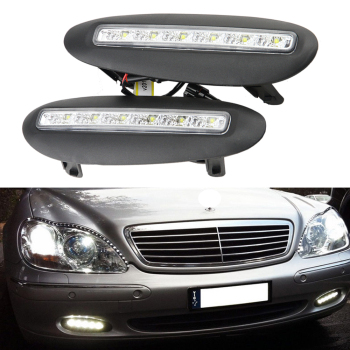 2x White LED Daytime Running Light Fog DRL Driving Lamp For BENZ W220 S-Class 1998-2001 Waterproof 12V LED Lamps new arrival led drl daytime running light fog lamp for toyota camry 2015 top quality 100% waterproof pure white