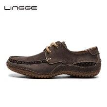 Lingge мужская Обувь Лето Узелок Мокасины Дизайн Природа Кожа Коровы Обувь Для Мужчин Случайных Кожаные мужские Мокасины #530-11
